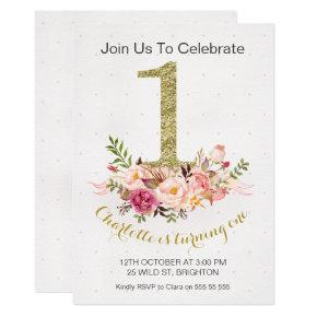 Floral Faux Gold Number 1st Birthday Invitation