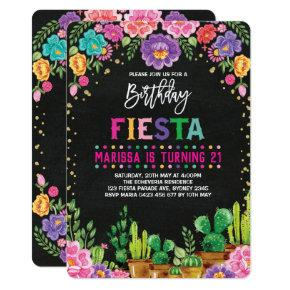 Floral Fiesta Birthday Party Mexican Flower Invite