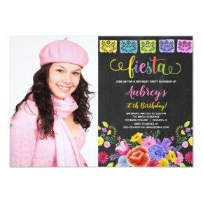 Floral fiesta birthday party photo invitation