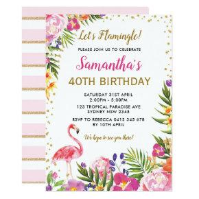 Floral Flamingo Birthday Party Tropical Pink Gold Invitation