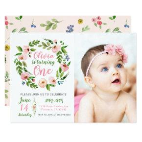 Floral Garden 1st Birthday Invitation Girl Photo