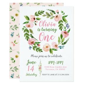 Floral Garden 1st Birthday Invitation | Peony Girl