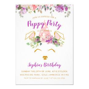 Floral Garden Puppy Party Birthday Faux Gold Invitation