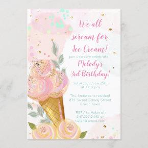Floral Girly Ice Cream Watercolor Birthday Party Invitation