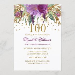 Floral Glitter Sparkling Amethyst 100th Birthday Invitation
