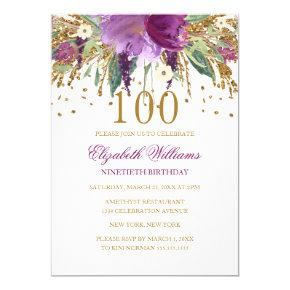 Floral Glitter Sparkling Amethyst 100th Birthday Invitation