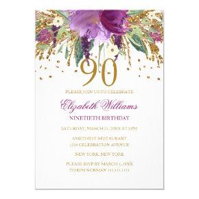 Floral Glitter Sparkling Amethyst 90th Birthday Invitation