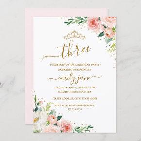 Floral Gold Blush Girl 3rd Birthday Party Invitation