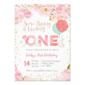 Floral Gold Bunny 1st Birthday Floral Invitation