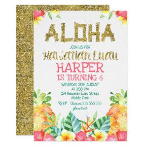 Floral Hawaiian Luau Birthday Invitations