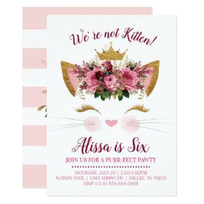 Floral Kitty Birthday Invitation | Gold Crown