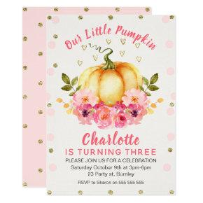 Floral Little Pumpkin Birthday Invitations