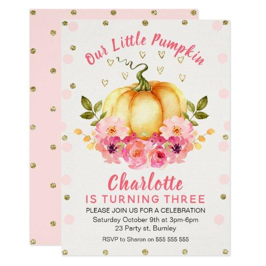 floral little pumpkin birthday invitations candied clouds