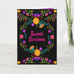 Floral Mexican Fiesta Black and Pink Sweet 16 Invitation