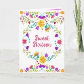 Floral Mexican Fiesta White and Pink Sweet 16 Invitation