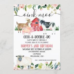 Floral Oink Moo Farm Animals Birthday Invitation