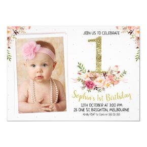 Floral Photo 1st Birthday Party Invitations