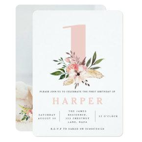 floral pink birthday party photo invitation