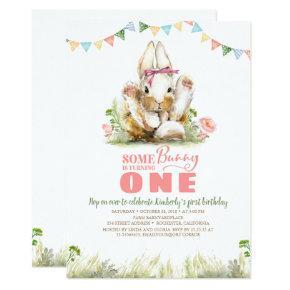 Floral Pink Bunny Girls Birthday Invitation