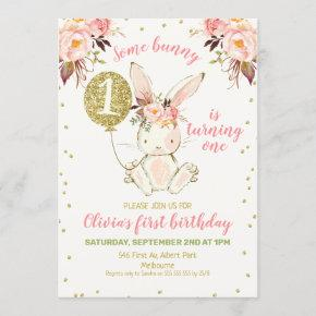 Floral Pink Gold Bunny 1st Birthday Invitation