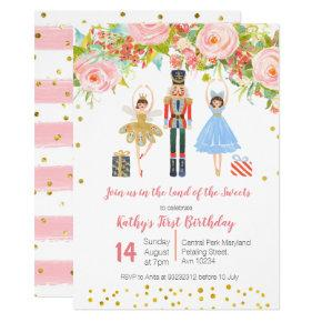 Floral Pink Gold NUTCRACKER Birthday invitation