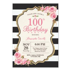 Floral Pink Peonies 100th Birthday Party Invitations