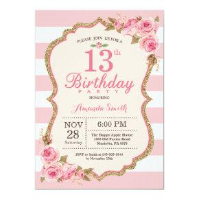 Floral Pink Peonies 13th Birthday Party Invitations