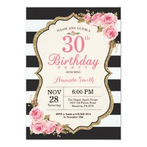 Floral Pink Peonies 30th Birthday Party Invitation
