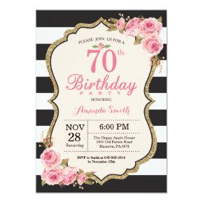 Floral Pink Peonies 70th Birthday Party Invitation