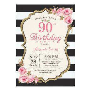Floral Pink Peonies 90th Birthday Party Invitation