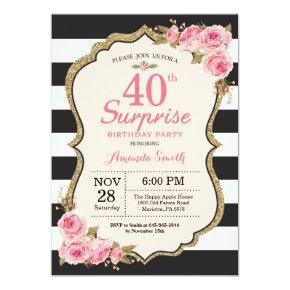 Floral Pink Peonies Surprise 40th Birthday Party Invitation
