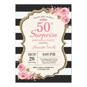 Floral Pink Peonies Surprise 50th Birthday Party Invitations
