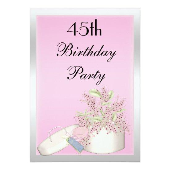 floral pink silver 45th birthday invitations candied clouds