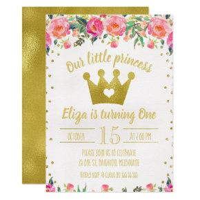 Floral Princess Birthday Party Invitations