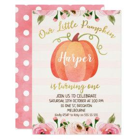 Floral Pumpkin First Birthday Invitation
