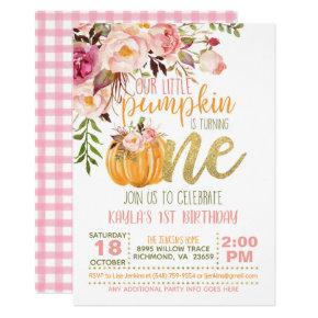 Floral Pumpkin First Birthday Invitation - Girl