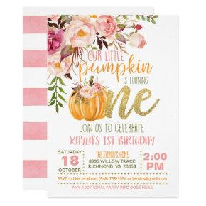 Floral Pumpkin First Birthday Invitation - Girl