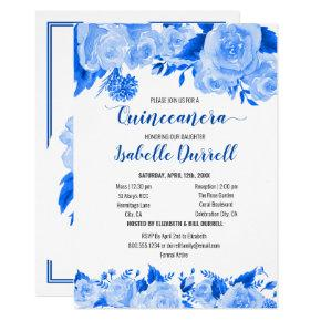 Floral Quinceanera and Mass Royal Blue Roses Invitation