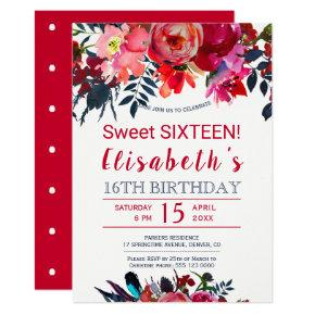 Floral red navy boho peony flowers sweet sixteen invitation