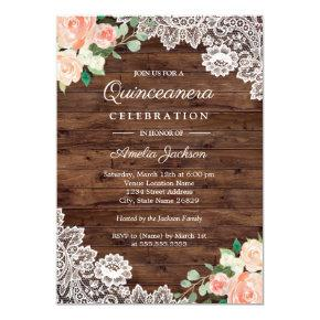 Floral Rustic Wood Lace Quinceanera Invitations