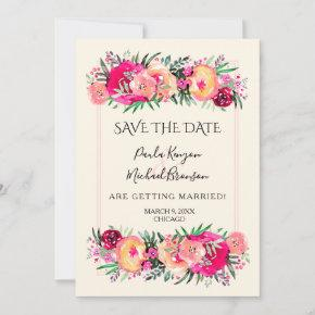 Floral Save the Date on Ivory - CHANGE COLORS!