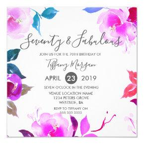 Floral Seventy & Fabulous 70th Birthday Party Invitations