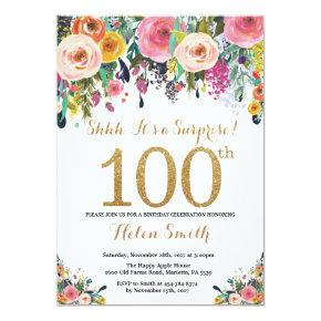 Floral Surprise 100th Birthday Invitations Gold