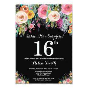 Floral Surprise 16th Birthday Invitations