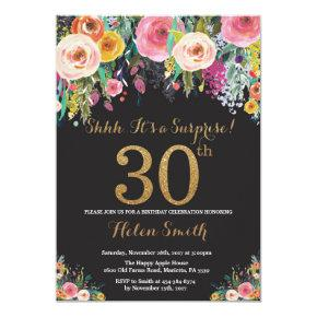 Floral Surprise 30th Birthday Invitations Gold