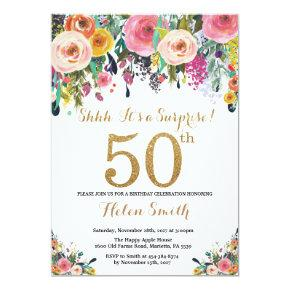 Floral Surprise 50th Birthday Invitation Gold