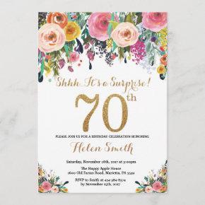 Floral Surprise 70th Birthday Invitation Gold