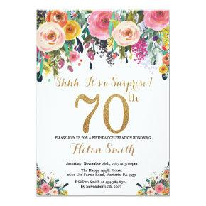 Floral Surprise 70th Birthday Invitations Gold