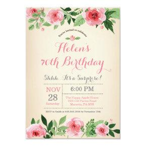 Floral Surprise 70th Birthday Invitation Pink