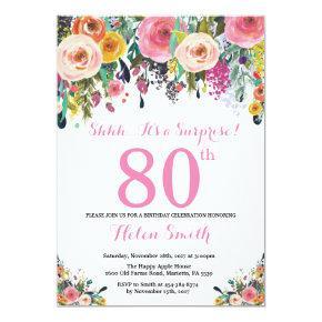 Floral Surprise 80th Birthday Invitation Pink